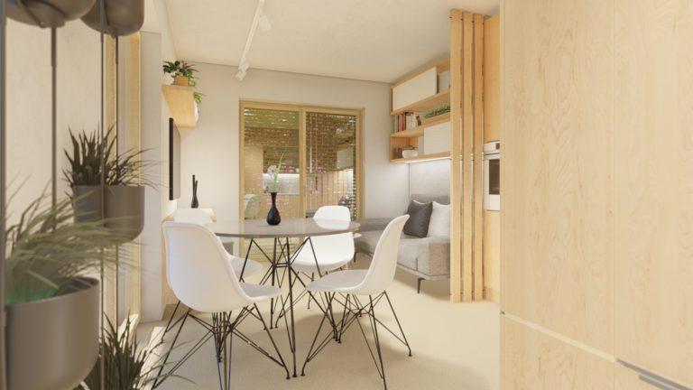 pohled na stůl a židle