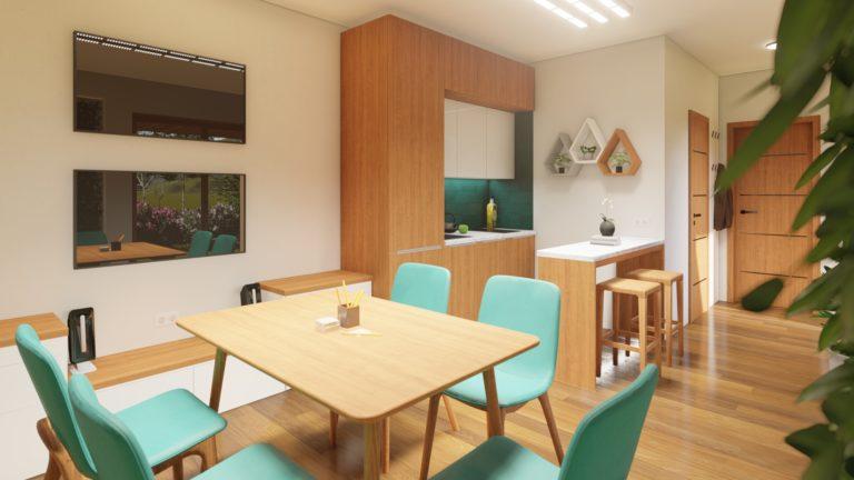 zasedací místnost a kuchyňka