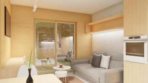 rekreace gauč velké okno a výhled